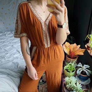 American Eagle Orange Short Sleeve Jumpsuit